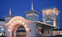 The lights of the entry way to Disney's BoardWalk Villas, a Disney Vacation Club Resort